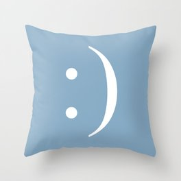 smiley sign on placid blue background Throw Pillow