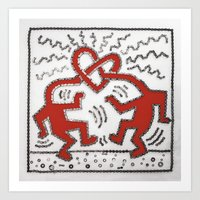 keith haring Art Prints featuring 077: Keith Haring - 100 Hoopties by 100 Hoopties