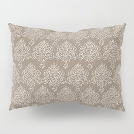 Coffee Color Damask Chenille with Lacy Edge Pillow Sham
