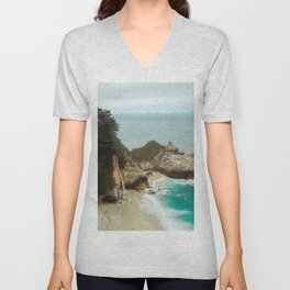 McWay Falls | Big Sur California Waterfall Ocean Coastal Travel Photography Unisex V-Neck