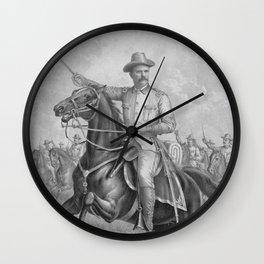 Colonel Theodore Roosevelt On Horseback Wall Clock