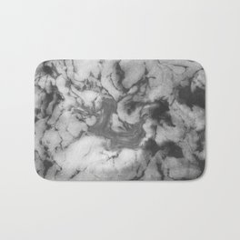 Shin - spilled ink black and white minimal modern watercolor marble printmaking painting monochrome Bath Mat