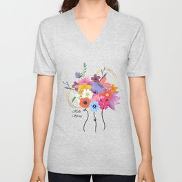 Hello Spring Bunch of Flowers Unisex V-Neck