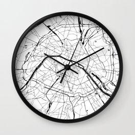 Paris Minimal Map Wall Clock