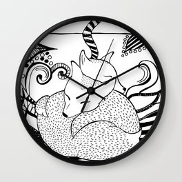 Hugging foxes Wall Clock