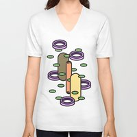 hot dog V-neck T-shirts featuring Hot dog by Jan Luzar