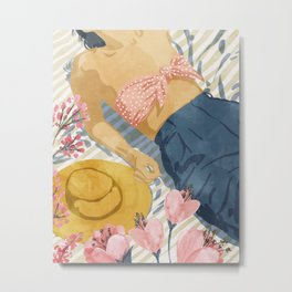 Beach Vacay #society6 #travel #illustration Metal Print