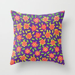 Flowers and Leaves Throw Pillow