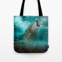 hobbes Tote Bags featuring I'll See You In My Dreams (Cry of the Wolf) by soaring anchor designs