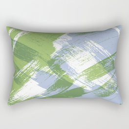 Summer : Light and medium green with periwinkle blue abstract ink design Rectangular Pillow
