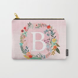 Flower Wreath with Personalized Monogram Initial Letter B on Pink Watercolor Paper Texture Artwork Carry-All Pouch
