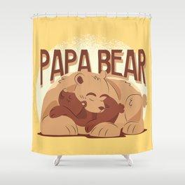 Papa Bear Illustration Shower Curtain