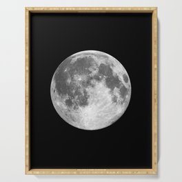 Full Moon print black-white photograph new lunar eclipse poster bedroom home wall decor Serving Tray