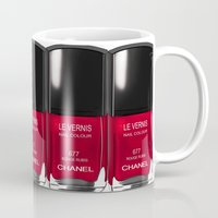 nail polish Mugs featuring Nail Polish Rouge Rubis by BeckiBoos