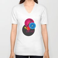 drive V-neck T-shirts featuring Drive by Geminianum