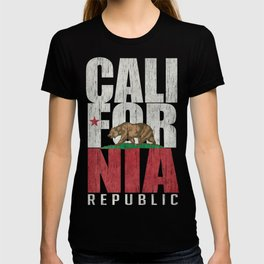 Cali Bear Flag with deep distressed textures T-shirt
