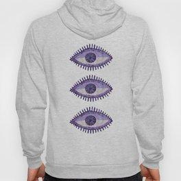 Embroidered Evil Eyes - Purple Hoody