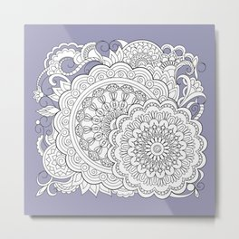 zen-tangle composition with mandalas and flowers Metal Print