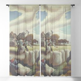 Classical Masterpiece 'Sugar Cane' by Thomas Hart Benton Sheer Curtain