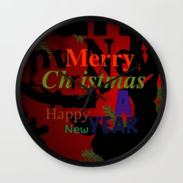 Merry Red Christmas! Wall Clock