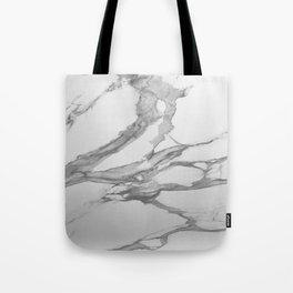 White Marble With Silver-Grey Veins Tote Bag