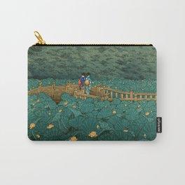Vintage Japanese Woodblock Print Kawase Hasui Japanese Children Lotus Flowers Garden Wooden Bridge Carry-All Pouch