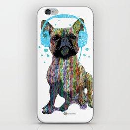 French Bulldog With Headphones iPhone Skin