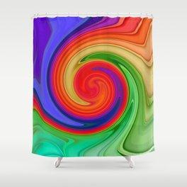 Ying Yang Rainbow Swirl Background Shower Curtain