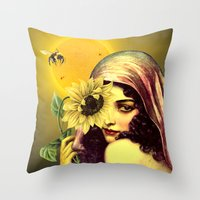 sunflower Throw Pillows featuring SUNFLOWER by Julia Lillard Art
