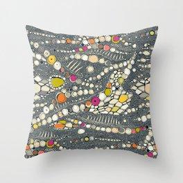 iguana skin indigo pop Throw Pillow