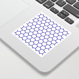 White and blue honeycomb pattern Sticker