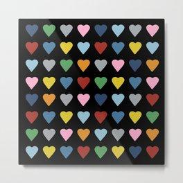 64 Hearts Black Metal Print