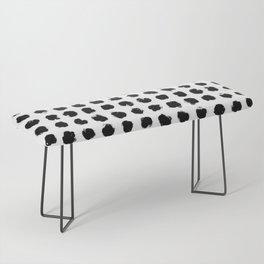 Black and White Minimal Minimalistic Polka Dots Brush Strokes Painting Bench