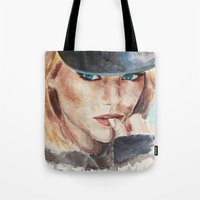 emma stone Tote Bags featuring Emma Stone, blonde by xDontStopMeNow