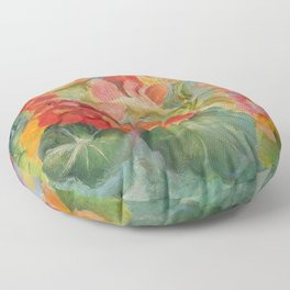 Nasturtiums Flowers in the garden Hot colors Floral painting Floor Pillow