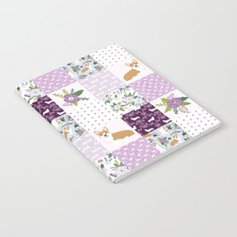 Corgi Patchwork Print - purple ,florals , floral, spring, girls feminine corgi dog Notebook