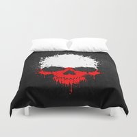 poland Duvet Covers featuring Flag of Poland on a Chaotic Splatter Skull by Jeff Bartels