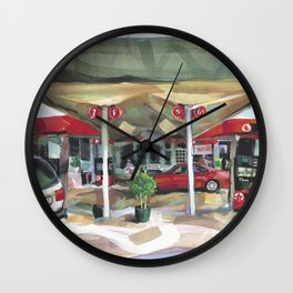 Passing a Palm Beach gas station on a warm winter's afternoon Wall Clock