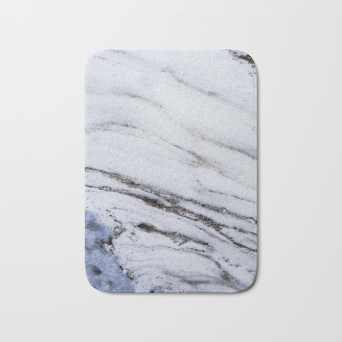 White Marble with Blue Bath Mat