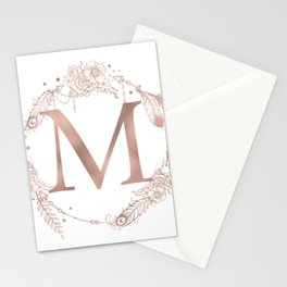 Letter M Rose Gold Pink Initial Monogram Stationery Cards