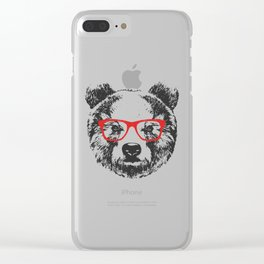 Portrait of Bear with glasses. Clear iPhone Case