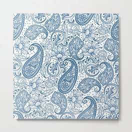 Blue ethnic ornate floral paisley pattern Metal Print