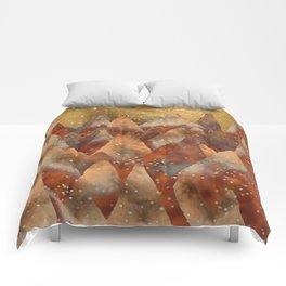 Abstract Copper  Gold Glitter Mountain Dreamscape Comforters