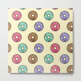 Kawaii Donut Pattern Metal Print