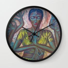 Beautiful Jaipuri Queen of Rajasthan, India Dressed in Gold portrait painting Wall Clock