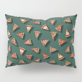 Pizza Party Pattern - Floating Pizza Slices on Teal Pillow Sham
