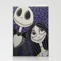 jack skellington Stationery Cards featuring Jack Skellington and Sally by KittyOG