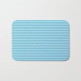Oktoberfest Bavarian Blue and White Small Diagonal Diamond Pattern Bath Mat