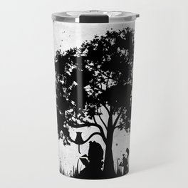 We're All Mad Here Alice In Wonderland Silhouette Art Travel Mug