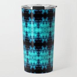 Turquoise Blue Black Diamond Gothic Pattern Travel Mug